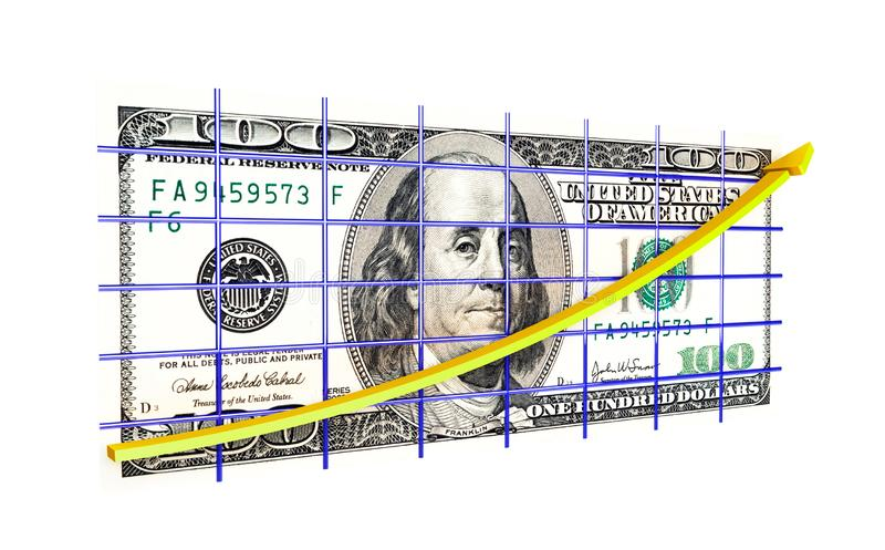 Dollar graph. On a white background vector illustration