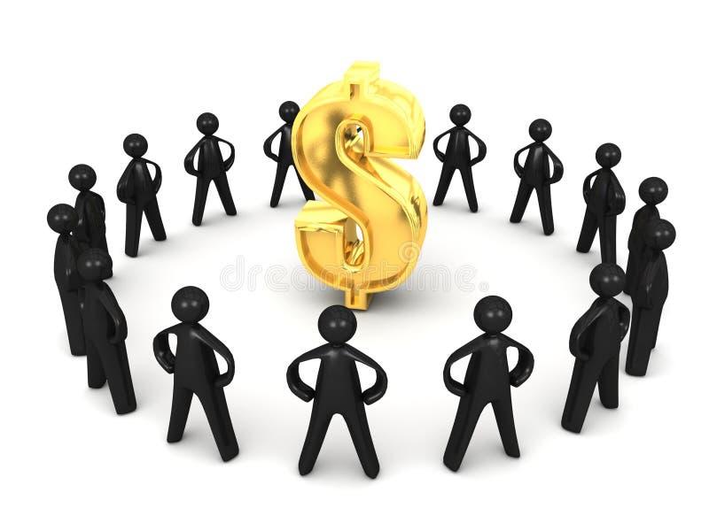 Dollar Group Circle Of Black Cartoon Men Stock Photography