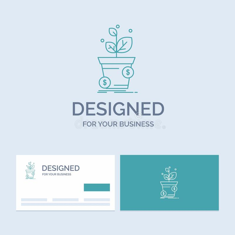 dollar, growth, pot, profit, business Business Logo Line Icon Symbol for your business. Turquoise Business Cards with Brand logo stock illustration