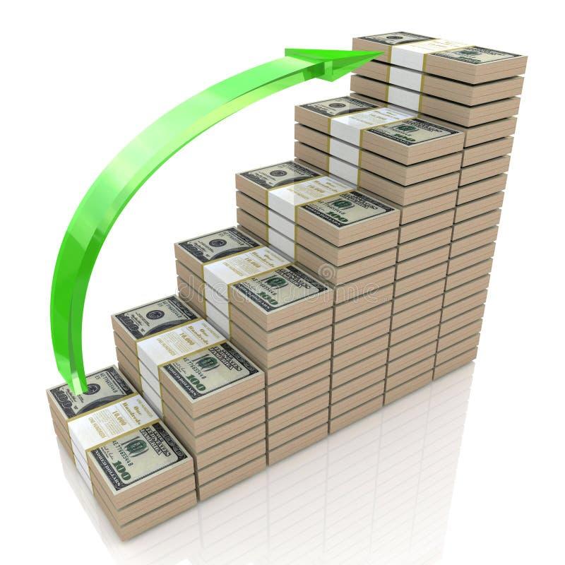 Rising dollar stock image