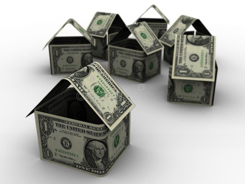 Dollar-Häuser in 3d stock abbildung