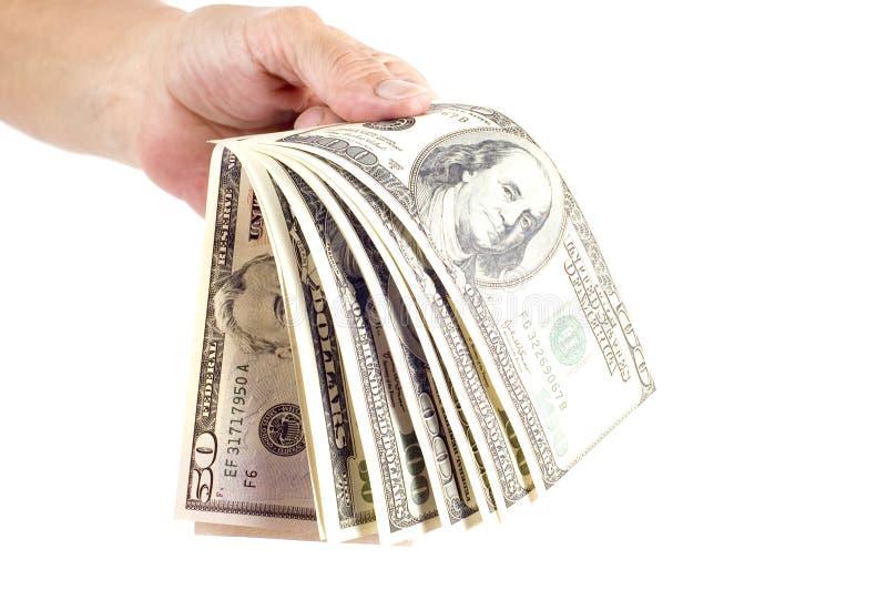 Dollar in hand stock photos