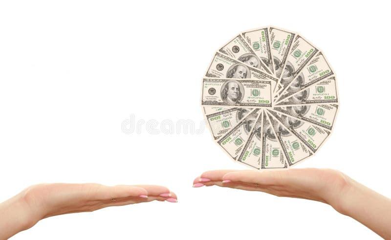 Dollar Hand Hundra Royaltyfri Bild