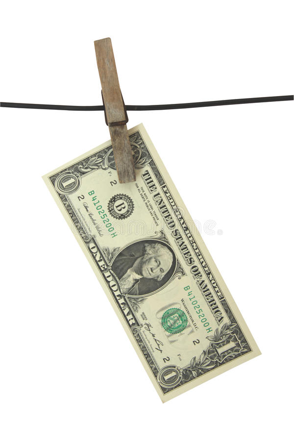 Dollar hang on clothes-peg stock images