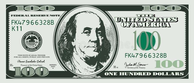 Dollar honderd stock illustratie