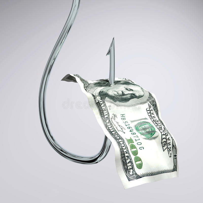 Dollar on hook royalty free stock photography
