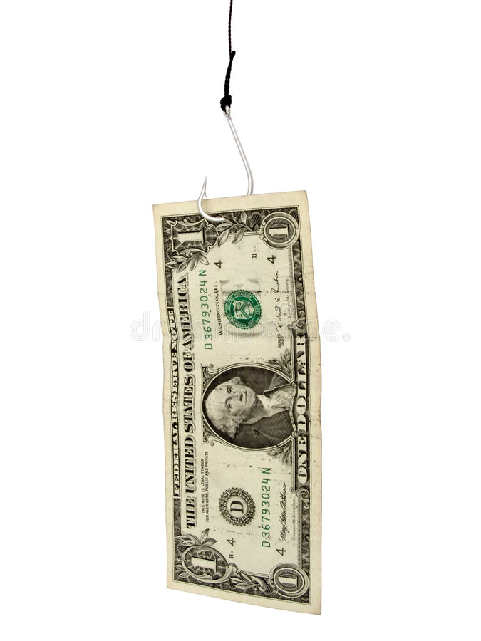 Dollar on a hook royalty free stock image