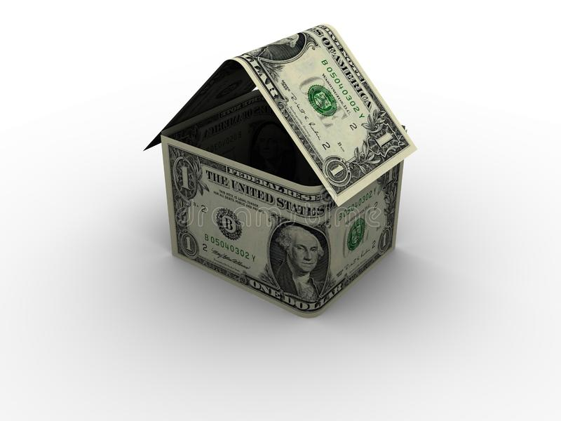 Dollar House in 3d stock photo
