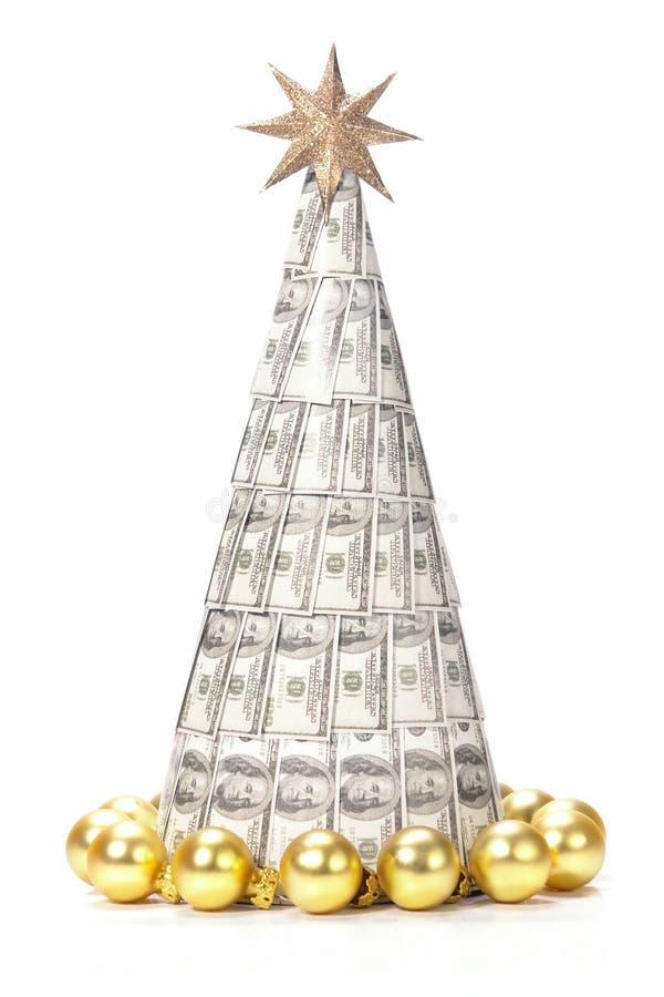 dollar hundra en treexmas arkivbild