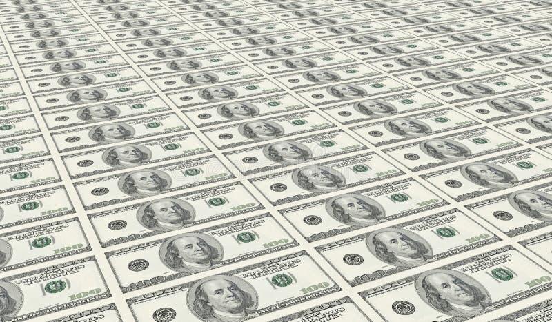dollar hundra ett uncut ark royaltyfri illustrationer