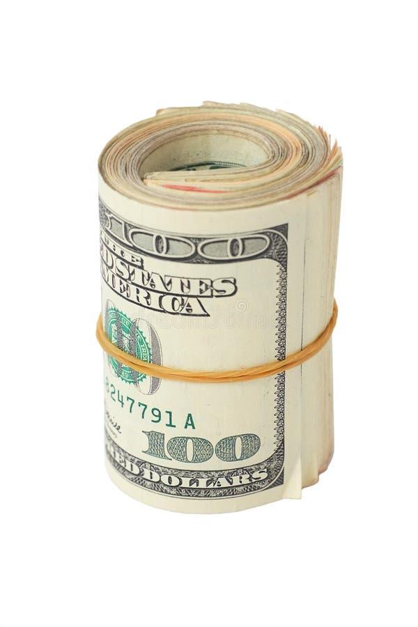 dollar hundra rulle arkivbild