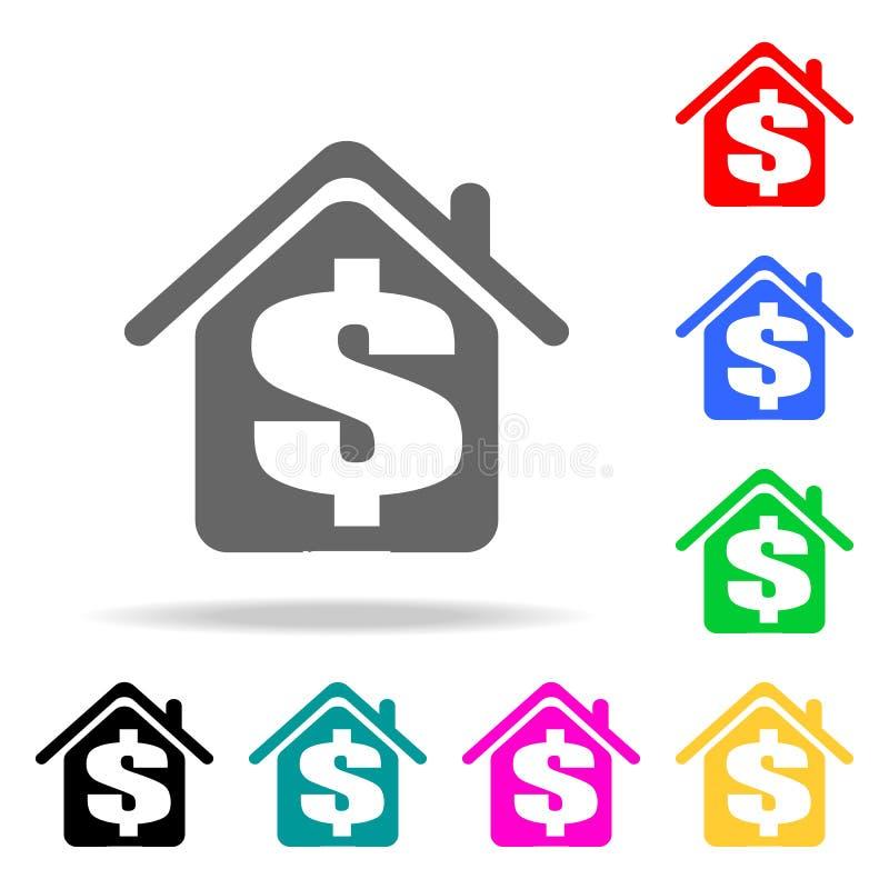 dollar i hussymbolen Beståndsdelar av fastigheten i mång- kulöra symboler Högvärdig kvalitets- symbol för grafisk design Enkel sy stock illustrationer