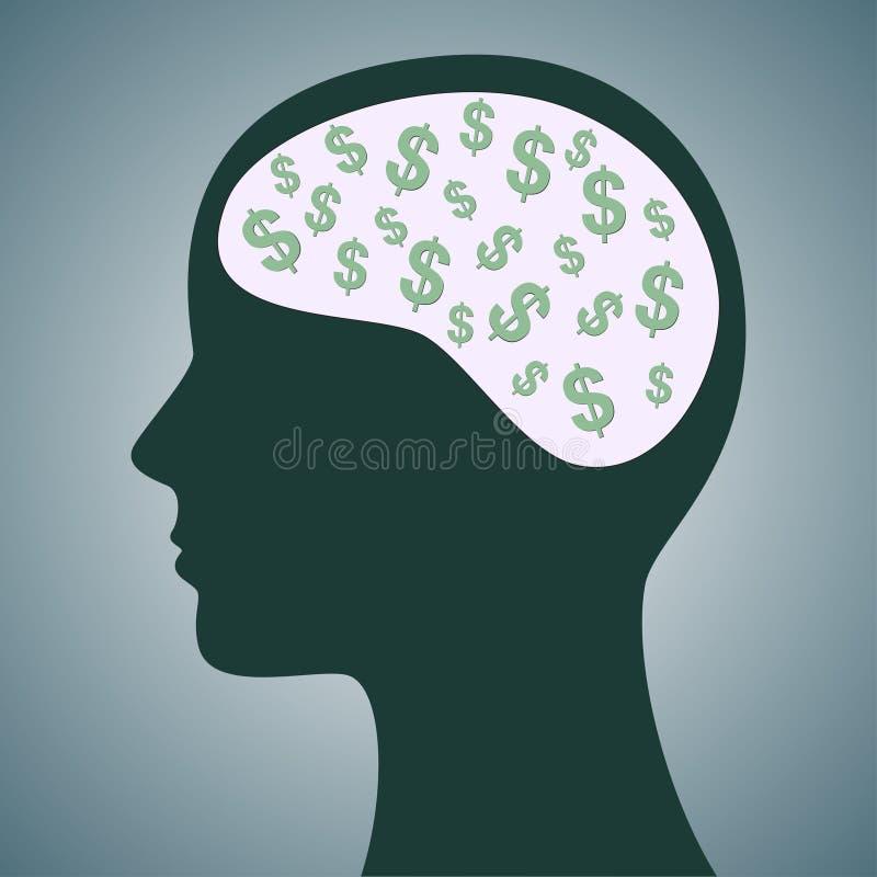 Dollar i huvud stock illustrationer