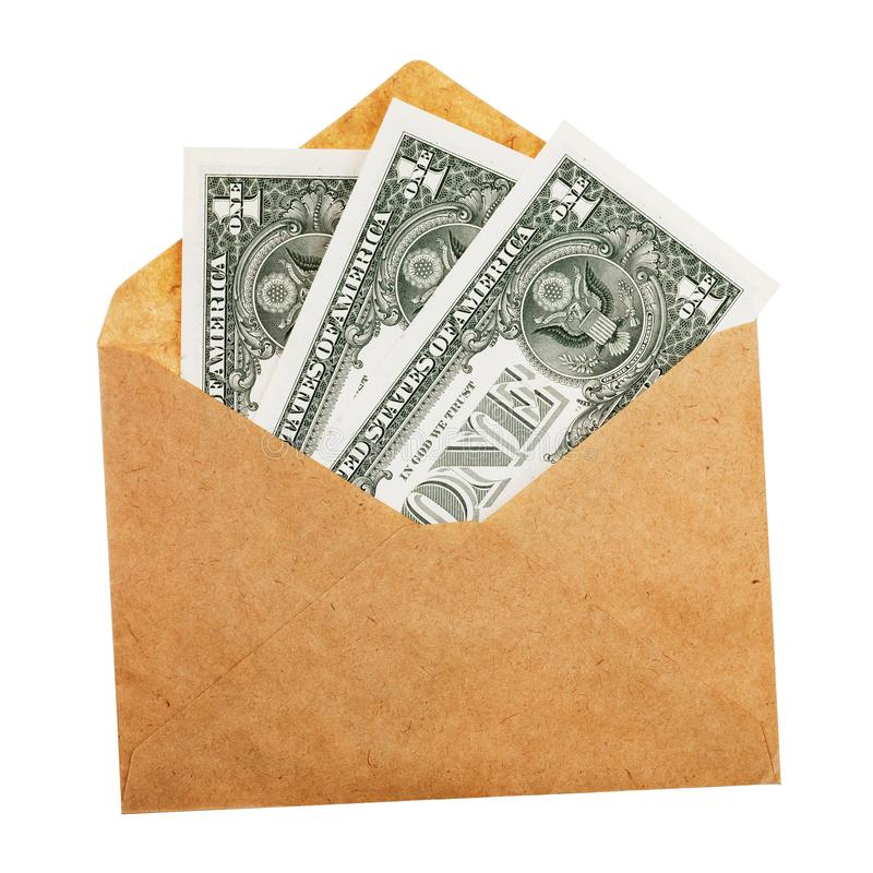 Dollar i kuvertet som isoleras på vit bakgrund arkivbilder