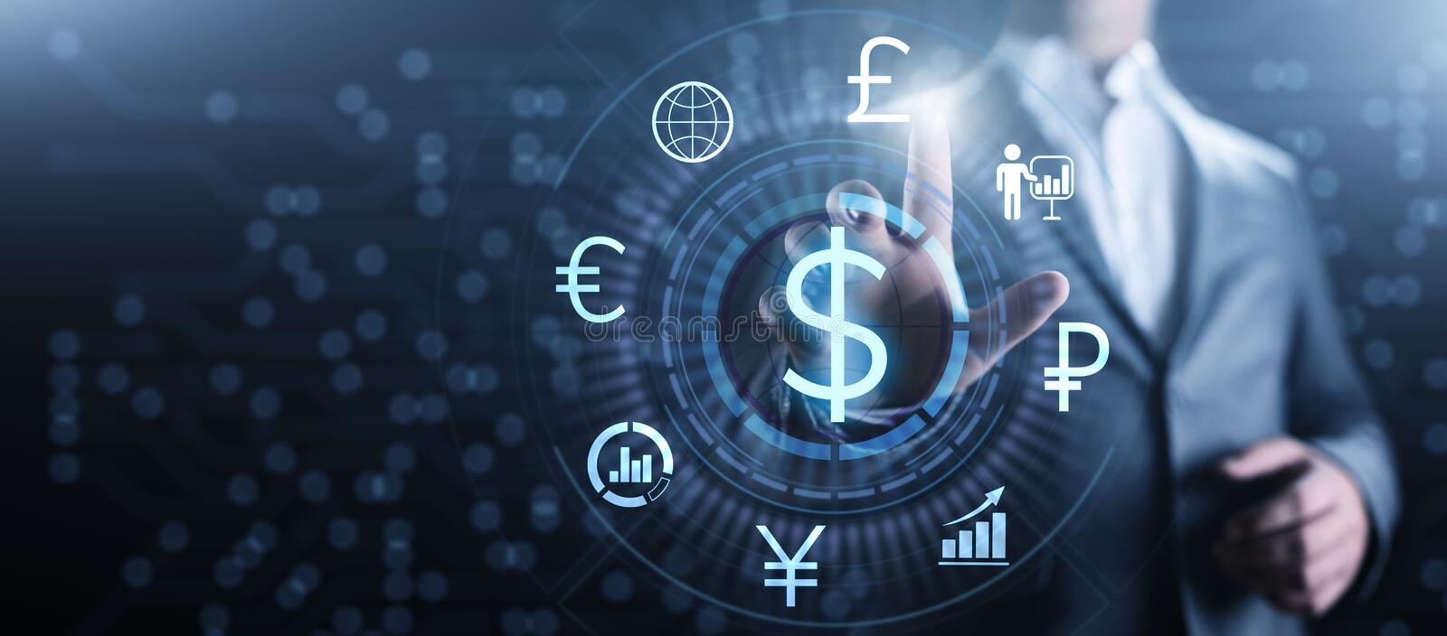 Dollar icon on screen. Currency trading rate Forex Business concept. stock photography