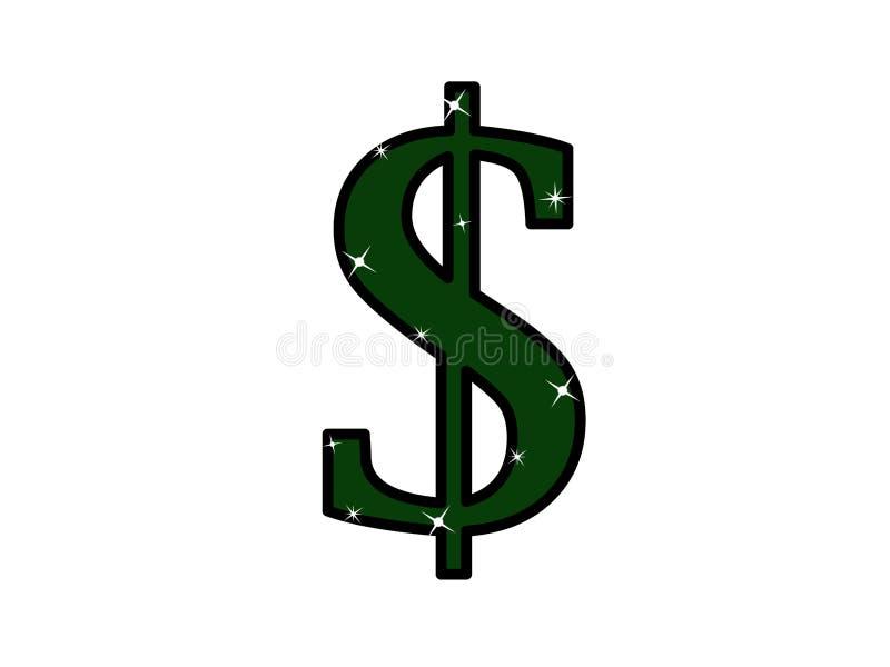 Dollar icon, symbol, poster. Element logo illustration with glitter. Green object. Web sticker, banner vector illustration