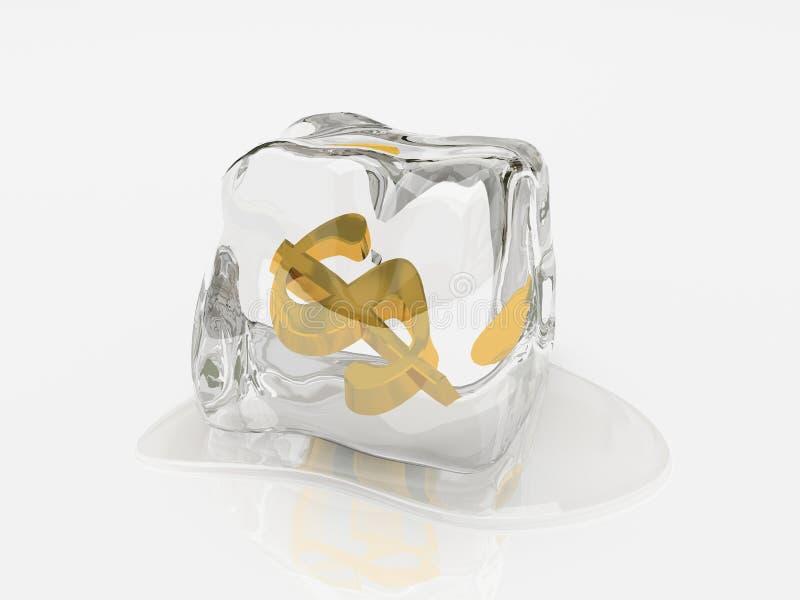 Dollar im Eiswürfel 3D lizenzfreie stockfotografie