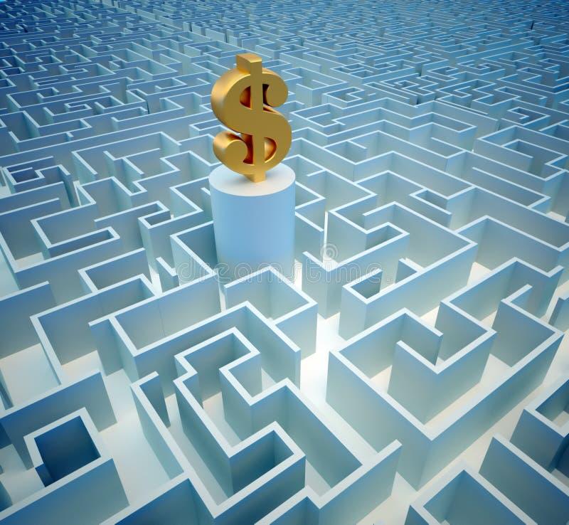 Dollar im Labyrinth lizenzfreie abbildung