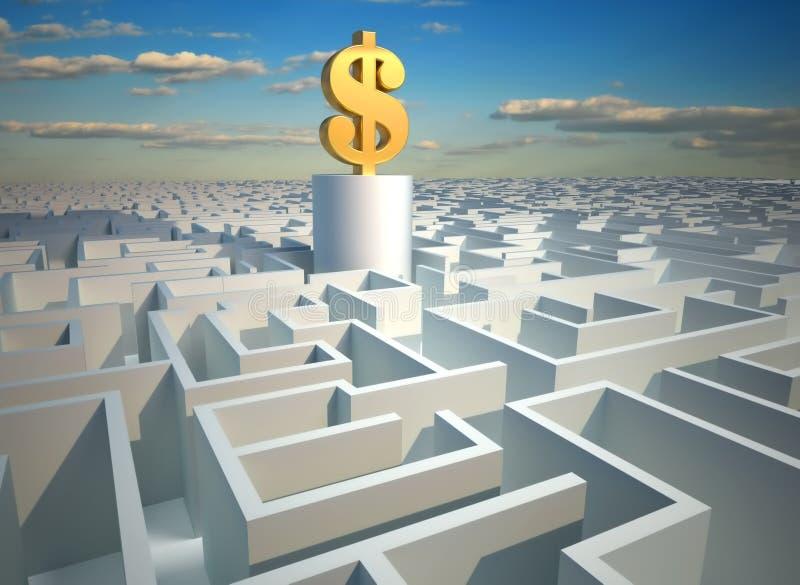 Dollar im Labyrinth vektor abbildung