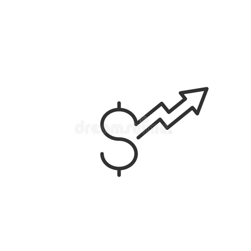 Dollar increase arrow up icon. Money symbol with stretching arrow up. rising prices. Business cost sale icon. cash salary increase. Investment growth. vector stock illustration