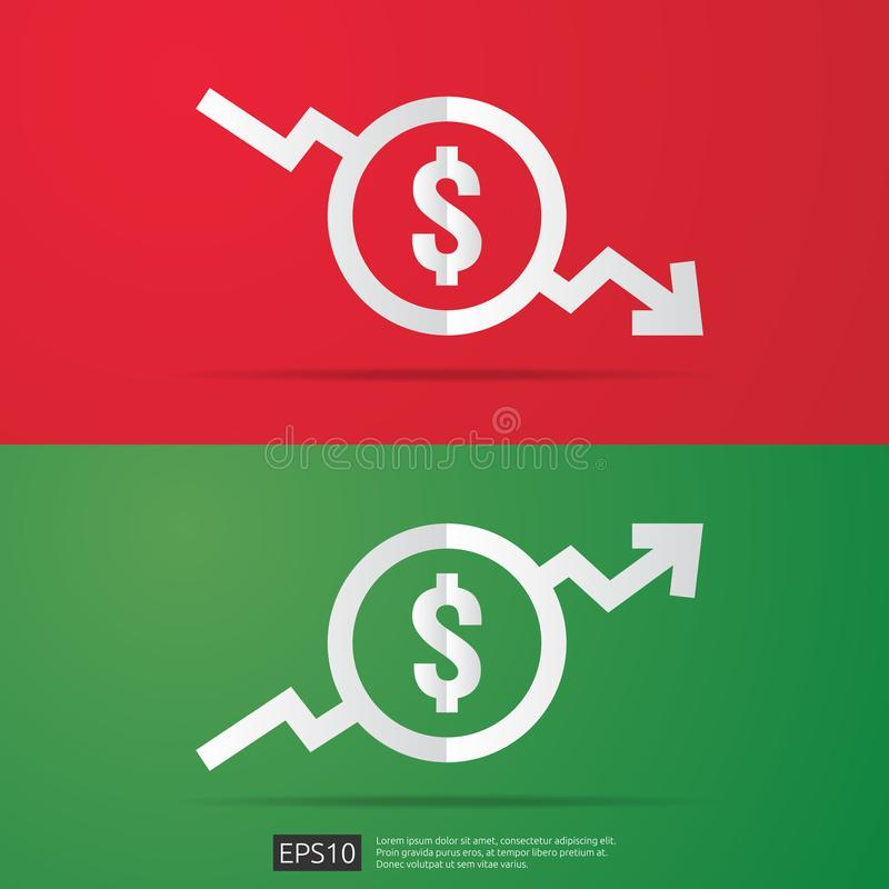 Dollar increase decrease icon. Money symbol with arrow stretching rising up and drop fall down. Business cost sale and reduction i. Con. vector illustration royalty free illustration