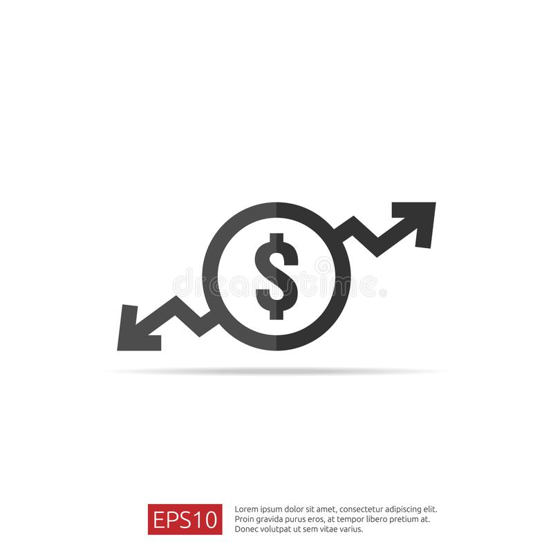 Dollar increase decrease icon. Money symbol with arrow stretching rising up and drop fall down. Business cost sale and reduction i. Con. vector illustration stock illustration