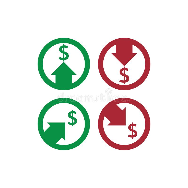 Dollar increase decrease icon. Money symbol with arrow stretching rising up and drop fall down. Business cost sale and reduction i. Con. vector illustration vector illustration