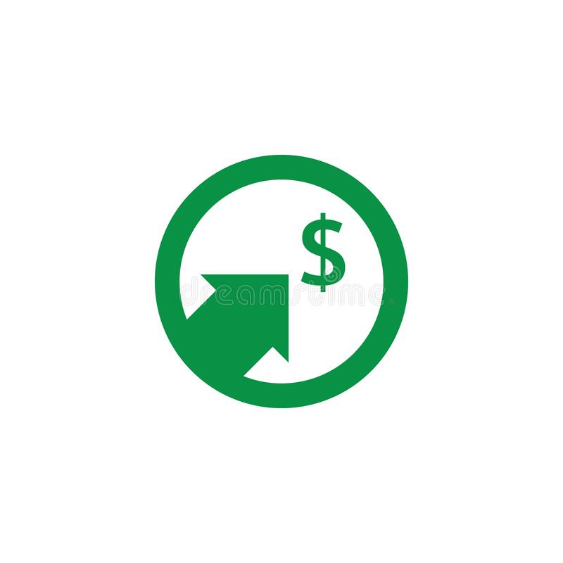 Dollar increase icon. Money symbol with arrow stretching rising up. Business cost sale icon. vector illustration.  royalty free illustration