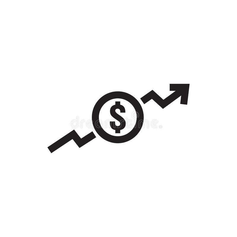 Dollar increase icon. Money symbol with arrow stretching rising up. Business cost sale icon. vector illustration.  vector illustration