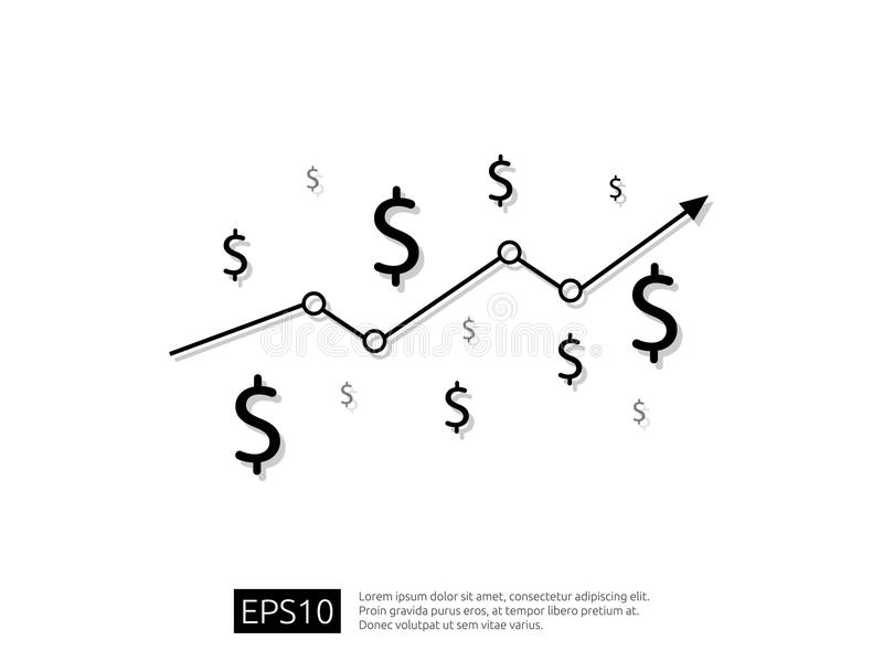 Dollar increase icon. Money symbol with arrow stretching rising up. Business cost sale icon. vector illustration. Dollar increase icon. Money symbol with arrow vector illustration