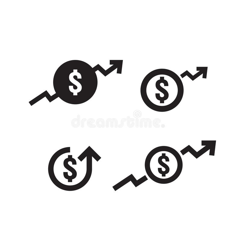 Dollar increase icon set. Money symbol with arrow stretching rising up. Business cost sale icon. vector illustration.  royalty free illustration