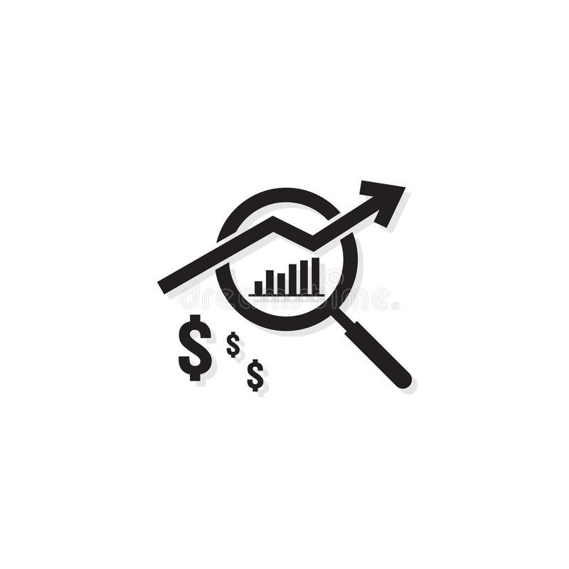 Dollar increase revenue icon. Money symbol with arrow stretching. Business finance cost sale symbol. salary payment rising up. out. Line vector illustration royalty free illustration