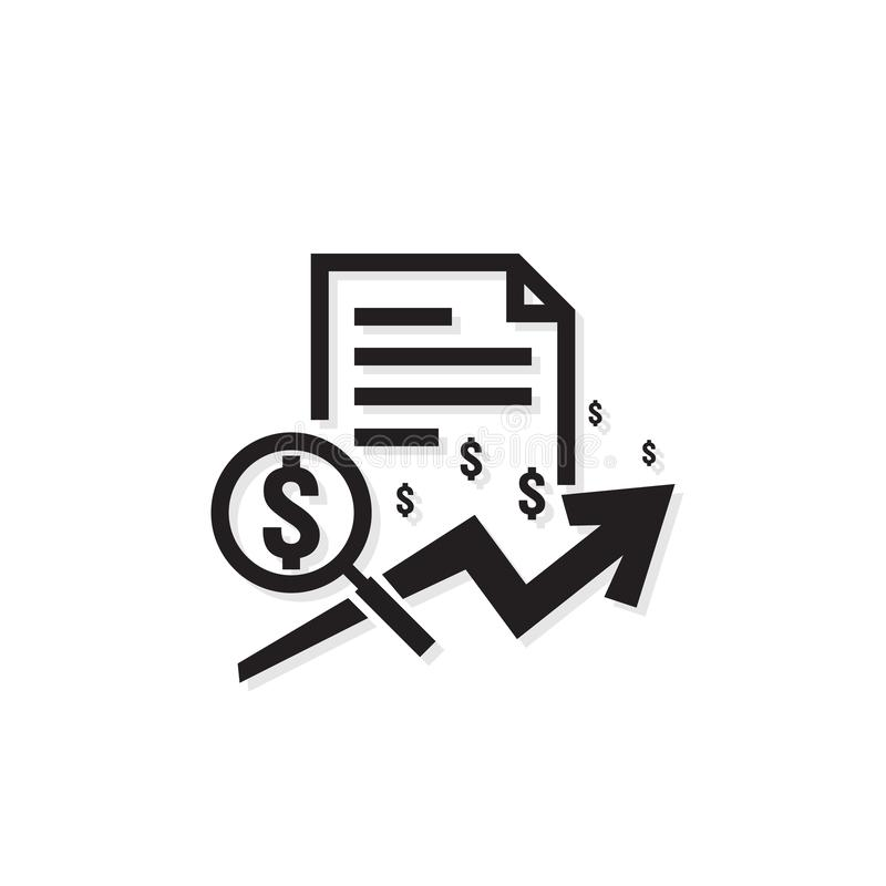 Dollar increase revenue icon. Money symbol with arrow stretching. Business finance cost sale symbol. salary payment rising up. out. Line vector illustration stock illustration