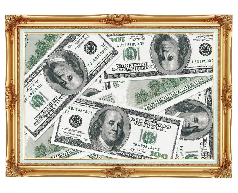 dollar inramniner den gammala bilden för guld- pengar royaltyfria bilder