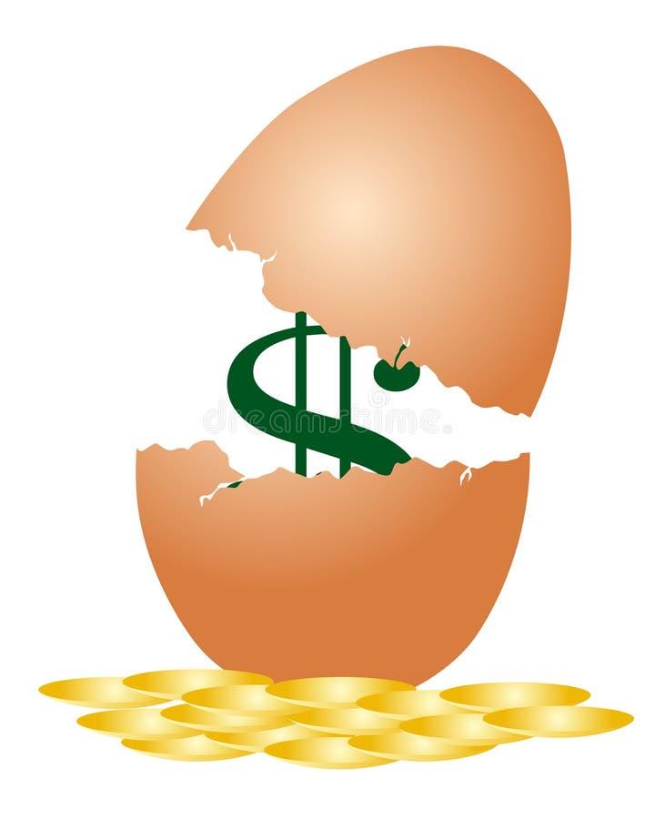 Dollar inside egg shell stock illustration