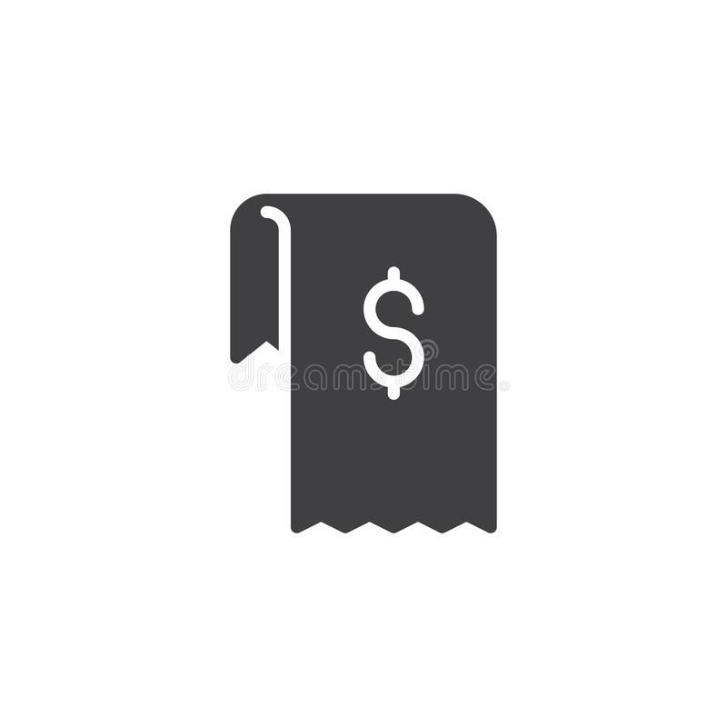 Dollar invoice vector icon. Filled flat sign for mobile concept and web design. Shopping money bill simple solid icon. Symbol, logo illustration. Pixel perfect vector illustration