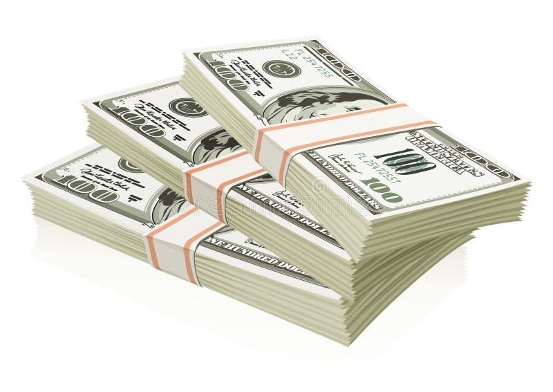 dollar isolerade pengarpackar royaltyfri illustrationer