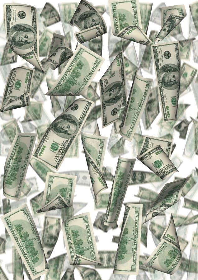 dollar isolerat regn royaltyfri illustrationer