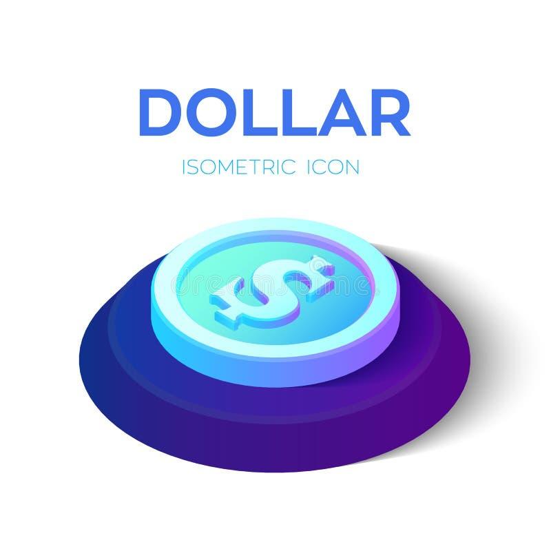 Dollar isometrische Münzenikone des Dollars 3D Geschaffen für Mobile, Netz, Dekor, Druck-Produkte, Anwendung Vervollkommnen Sie f lizenzfreie abbildung