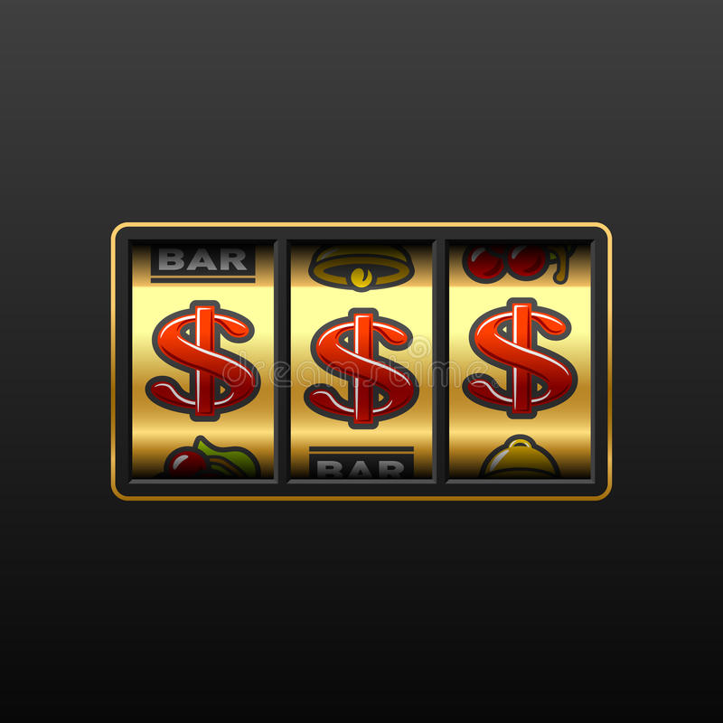 Dollar jackpot - winning in slot machine stock illustration