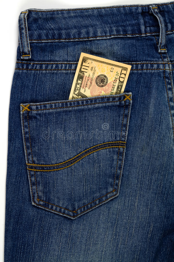 10 dollar in the Jeans Pocket. 10 dollar in the Jeans stock images