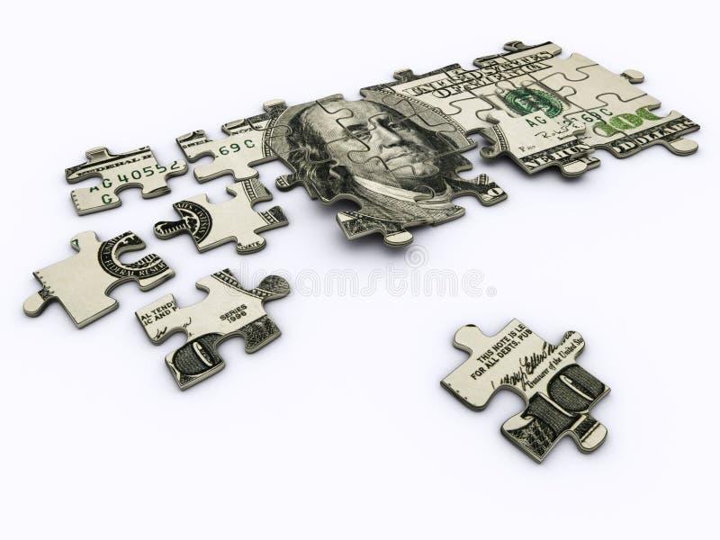 Dollar jigsaw puzzle royalty free illustration
