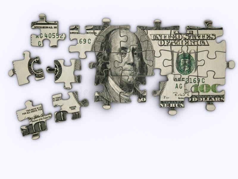 Dollar jigsaw puzzle vector illustration