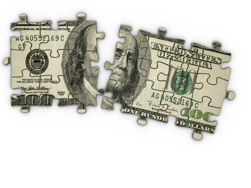 Dollar jigsaw puzzle stock illustration