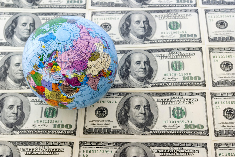 dollar jordklot royaltyfria foton