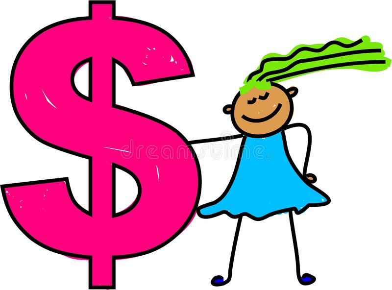 Dollar kid royalty free illustration
