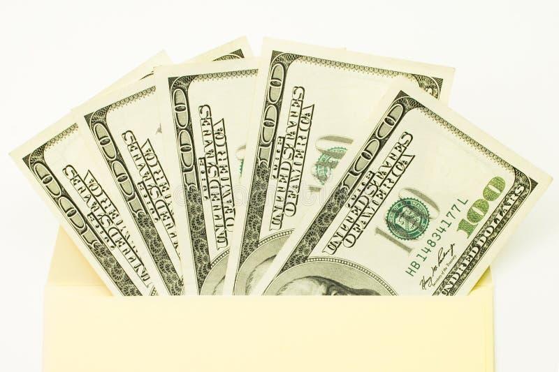 dollar kuvert Hundra räkningar Inofficiell lön Fläkta av pengar royaltyfria foton