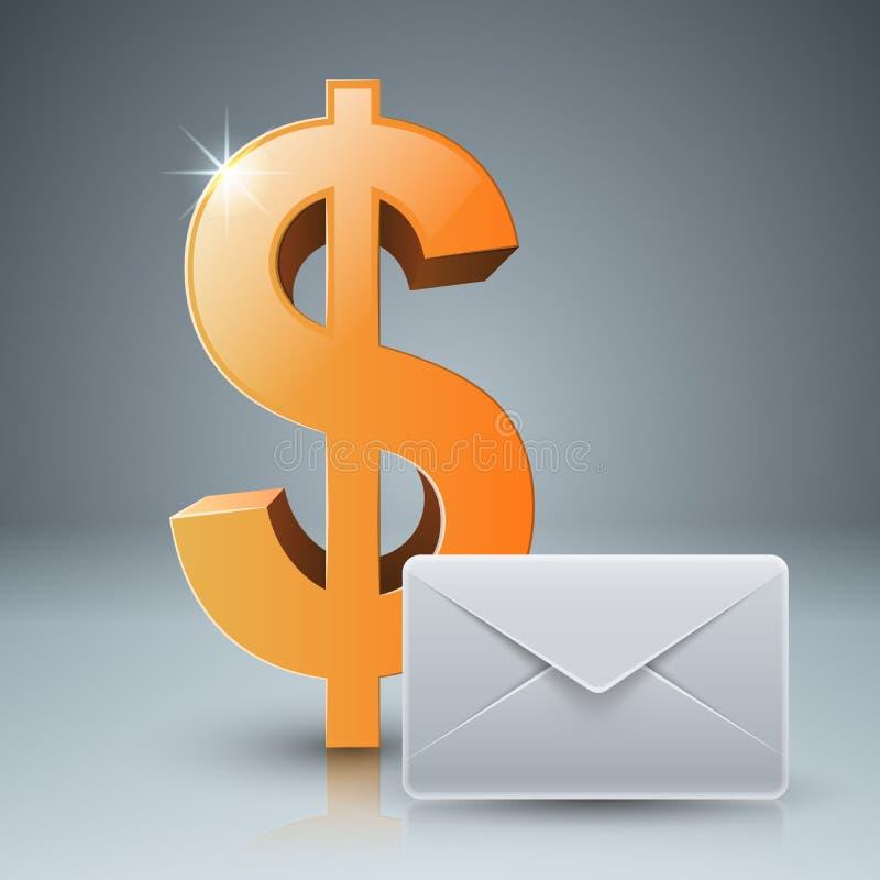 Dollar kuvert, post, emailsymbol royaltyfri illustrationer