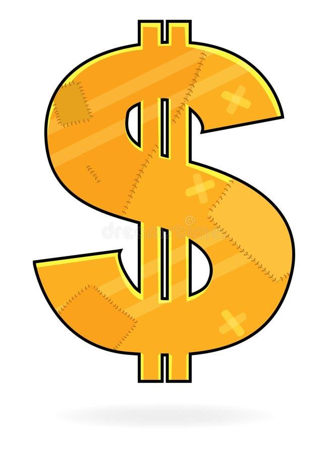 dollar lappat tecken royaltyfri illustrationer