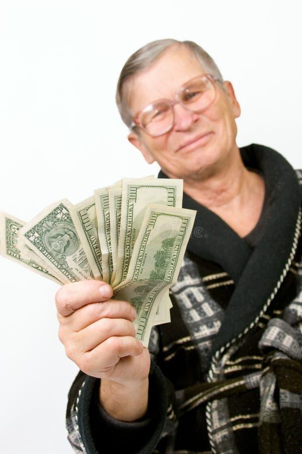 dollar lycklig gammal holdingman arkivbilder